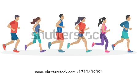 People running. Men and Women jogging. Marathon race concept. Sport and fitness design template with runners and athletes in flat style. Vector illustration. Photo stock ©