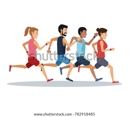 People running over white background