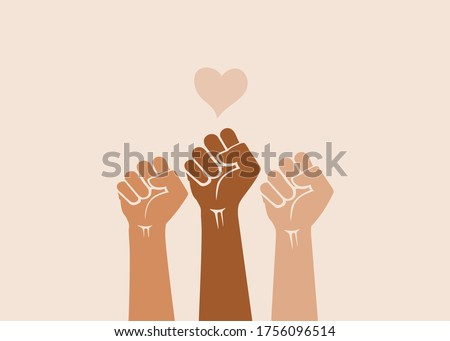 People's hands raised with clenched fists, isolated on a light background. Symbol of love and diversity. Human rights, feminism, equality and women's day concept. Black lives matter movement.  Photo stock ©