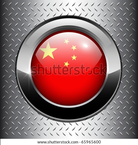People's Republic of China flag button on metal background, vector.