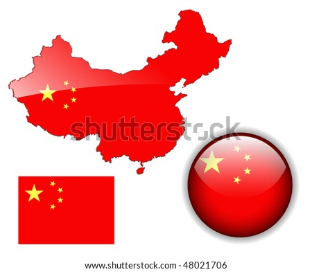 People's Republic of China  flag, map and glossy button, vector illustration set.