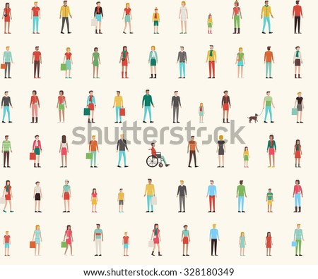 People seamless pattern with set of flat characters, men, women, kids