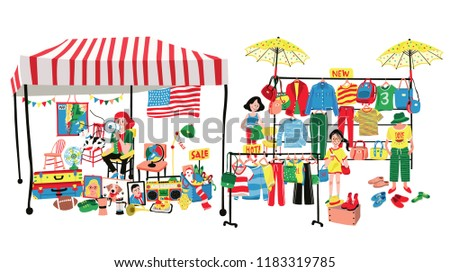 People selling and shopping at flea market or marketplace, clothes and accessories vendor and second hand shop; all in flat colorful doodle cartoon design, white background, illustration, vector