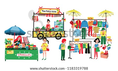 People selling and shopping at flea market or marketplace: clothes shop, thai papaya salad and smoothies stalls, all in colorful doodle cartoon flat design, illustration, vector on white background