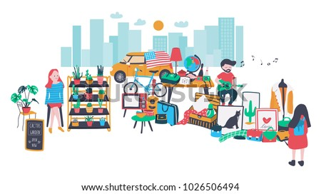 People selling and shopping at walking street consisting of cactus and second hand shops,  all is colorful doodle cartoon flat design banner, illustration, vector, on white background