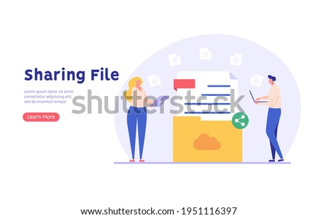 People send files for business. Concept of sharing file, data transfer, transfer of documentation, cloud service, file management, electronic document management. Vector illustration in flat design