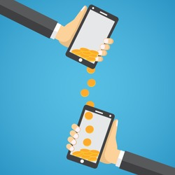 People sending and receiving money wireless with their mobile phones. Flat style vector.