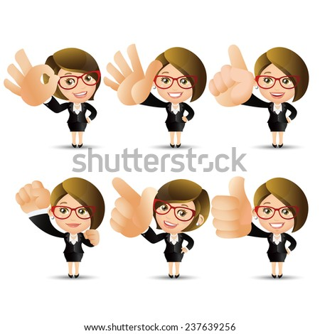 People Set - Business - Big hand. Businesswoman