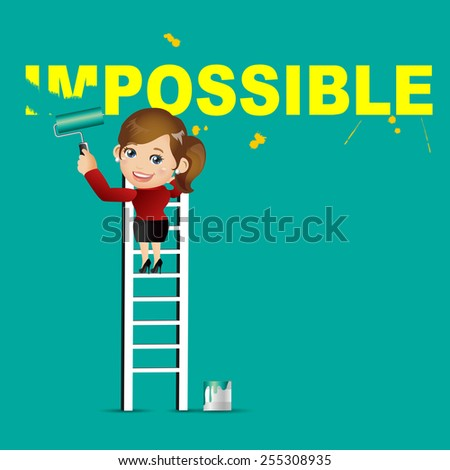 People Set - Business - Businesswoman erasing the word impossible