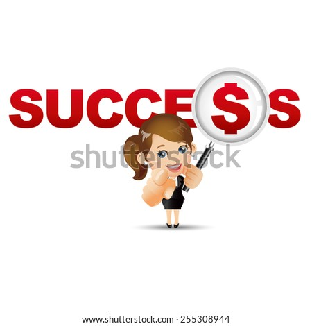 People Set - Business - Businesswoman. Success and dollar
