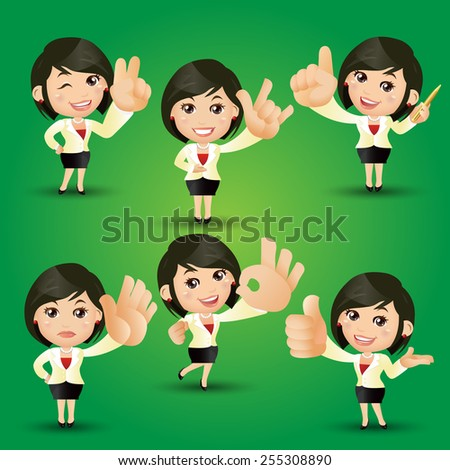 People Set - Business - Businesswoman with hand sign
