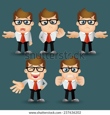 People Set - Business - Office man serious. emotion
