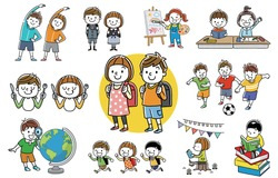 People set: children, siblings, elementary school students, collection