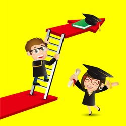 People Set - Education - Graduate student climbing on ladder to reach graduate cap. Gain knowledge result
