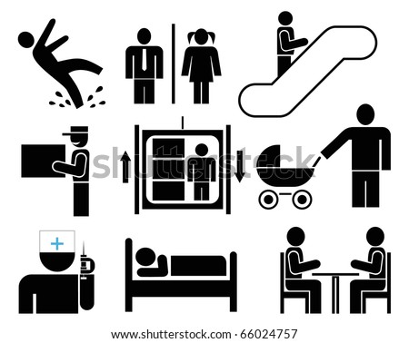 escalator clipart black and white. black pictograms on white. caution - wet floor escalator clipart and white