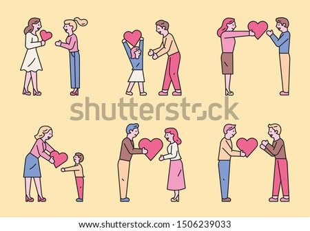 People sharing hearts with various people. flat design style minimal vector illustration. ストックフォト ©