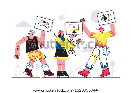 People sharing online vector illustration. Internet users exchanging games, audio and video files flat style design. Concept of share in social networks