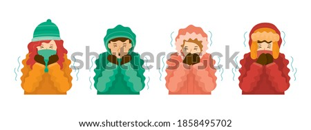 People Shivering from Winter Season Cold Weather in Winter Clothes. Foto stock ©
