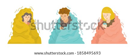 People Shivering under Blanket Set in Cold Weather during Winter Season Stock photo ©
