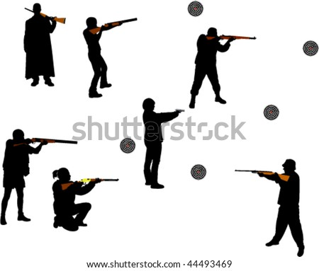 people shooting guns vector