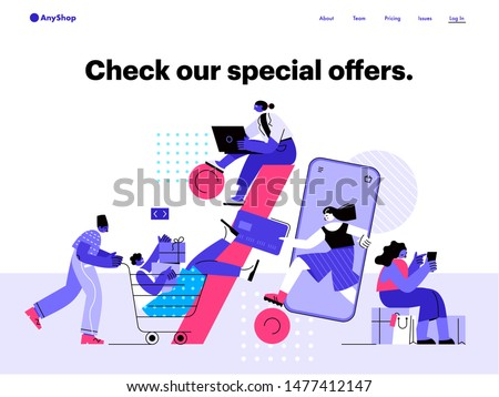 People shop online and interacting with each other. E-commerce and online shopping. Flat vector illustration.
