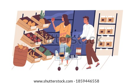 People shopping and choosing organic fruits and vegetables in grocery department store or supermarket. Man with trolley and woman with basket at shop. Buying food products. Flat vector illustration