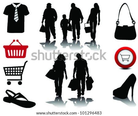 People shopping, black silhouettes with shadows and signs, vector
