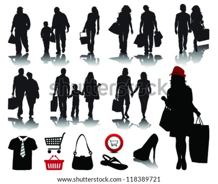 People shopping, black silhouettes with shadows and signs 2, vector
