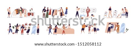 People shopping flat vector illustrations set. Happy boutique customers and friendly sellers cartoon characters. Clothing sale, consumerism concept. Garments shop, apparel retail business.