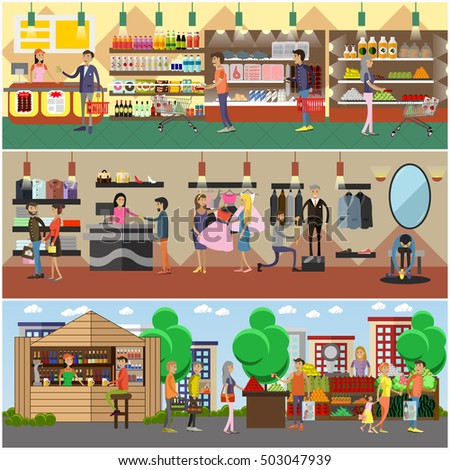 People shopping in a store and local market concept banners. Colorful vector illustration. Customers buy products in food supermarket, trying clothes.