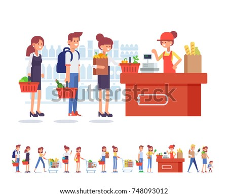 People Shopping in supermarket. Flat Vector character woman cashier in supermarket. Concept illustration for Shop, banner. Healthy food, cash register and buyers.