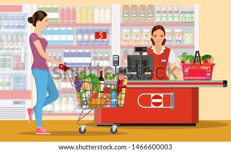 People Shopping in supermarket. woman cashier in supermarket. Cash register, Cashier and buyer with cart. Vector illustration in flat style