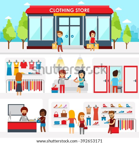 People shopping in the clothing store. Shop Interior. Colorful vector illustration design, infographic elements, banners in flat style. Clothing store facade on street. Men's and women's shopping
