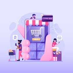 People shopping online concept with happy customers buying and making payments with smartphones. Internet digital store scene with man and woman on shopping. E-commerce advertising illustration.