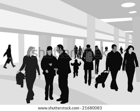 People Shopping Silhouettes over White and  Shopping Mall Background on Separate Layer
