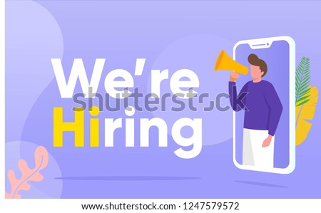 people shouting on megaphone with we are hiring word vector illustration concept, can use for, landing page, template, ui, web, mobile app, poster, banner, flyer, background