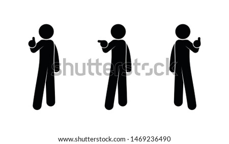 people show hand gestures, pictograms set, human silhouettes, stick figure, person icon