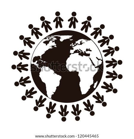 people sign over planet isolated over white background. vector