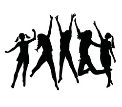 People silhouette jumping. Girls and women jumping and raising hands up.  Vector illustration isolated n white background.