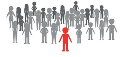 People silhouette over gray background vector illustration. Statistical chart of people showing one out of group.