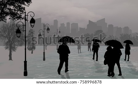 People silhouettes at rainy day  with umbrellas on city park on grey, vector illustration