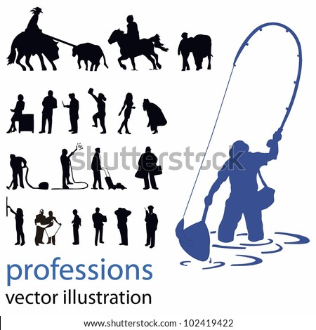 people silhouettes vector illustration; professions