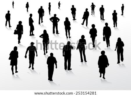 people silhouettes walking...