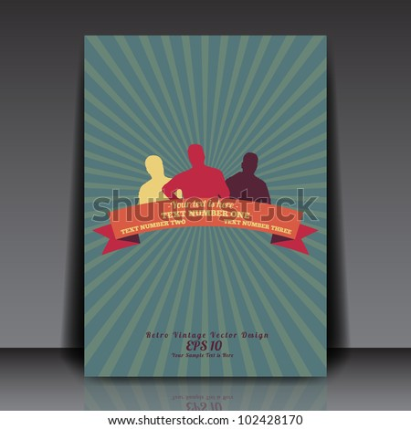 People silhouettes with retro vintage ribbon on sunrays background - Flyer Template Vector Design
