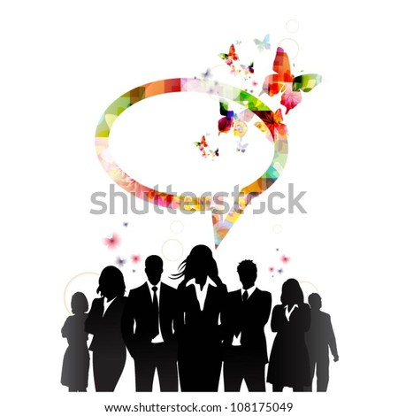 People silhouettes with speech bubble