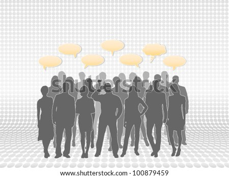 People silhouettes with speech bubbles. People vectors separated and placed in layers for easy editing.