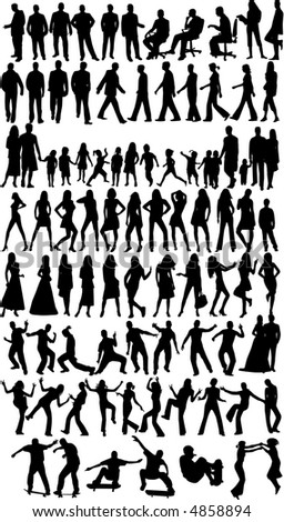 People  silhouettes, work with vectors