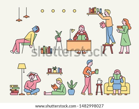 People sit around in various poses and read books. flat design style minimal vector illustration. Foto stock ©