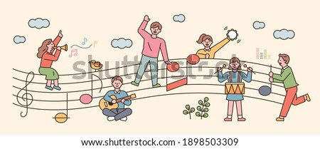 People sit on sheet music and sing and play musical instruments. flat design style minimal vector illustration. Photo stock ©
