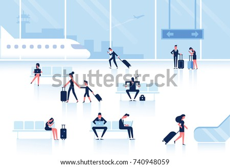 People sitting and walking in airport terminal. Infographics elements. Business travel concept. Flat vector illustration.